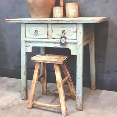 Luksa Oud houten wandtafel met 2 laden