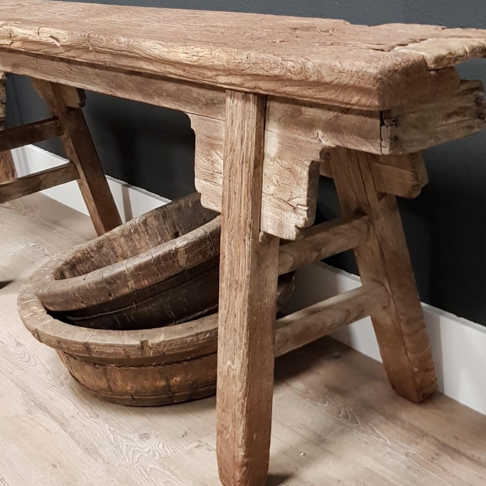 Luksa Uniek antiek houten bankje