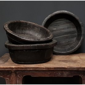 Luksa Oude houten bak rond zwart medium