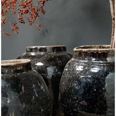 Luksa antieke pot glazuur zwart