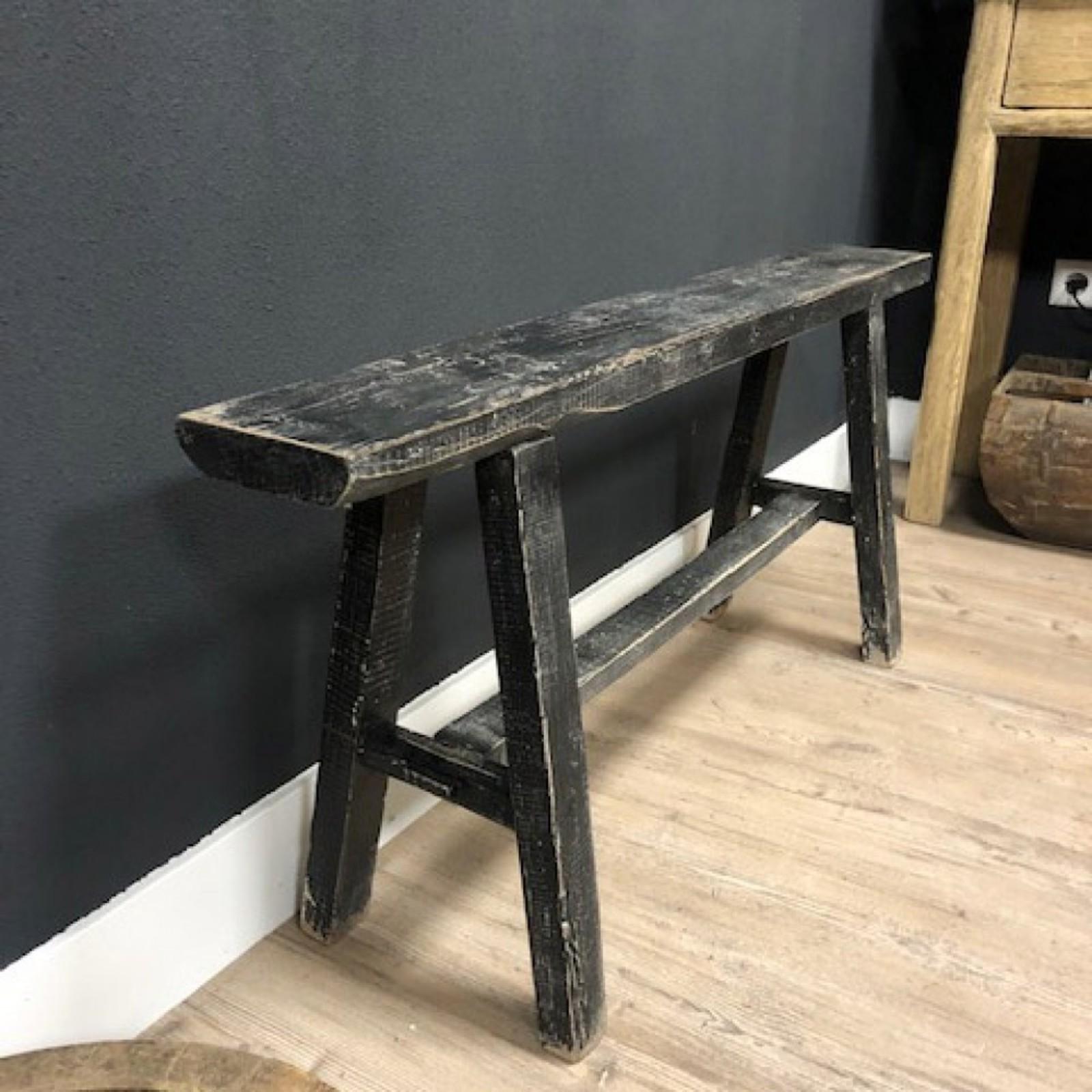 Luksa Oud houten bankje zwart