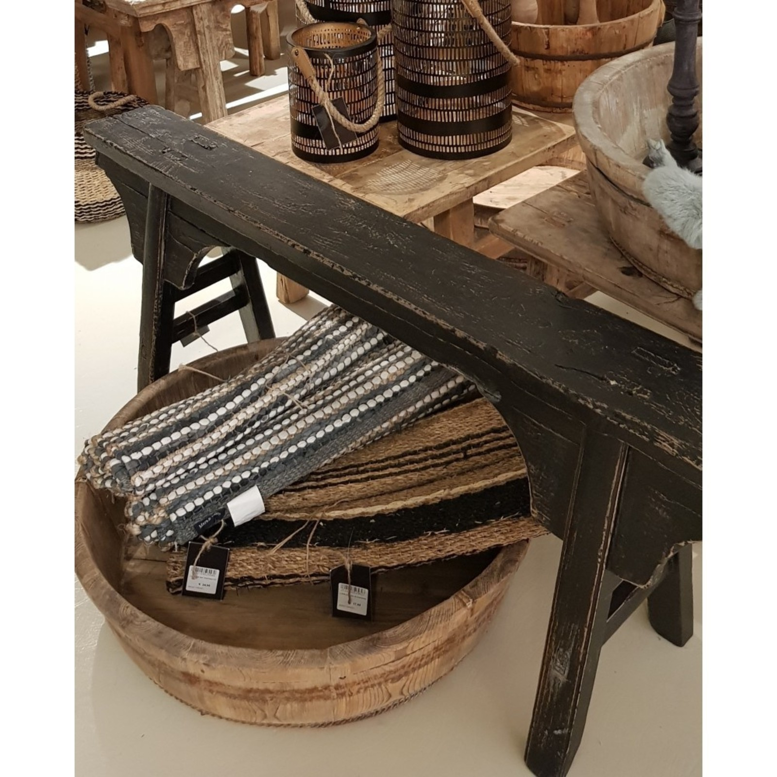 Luksa Uniek houten bankje zwart