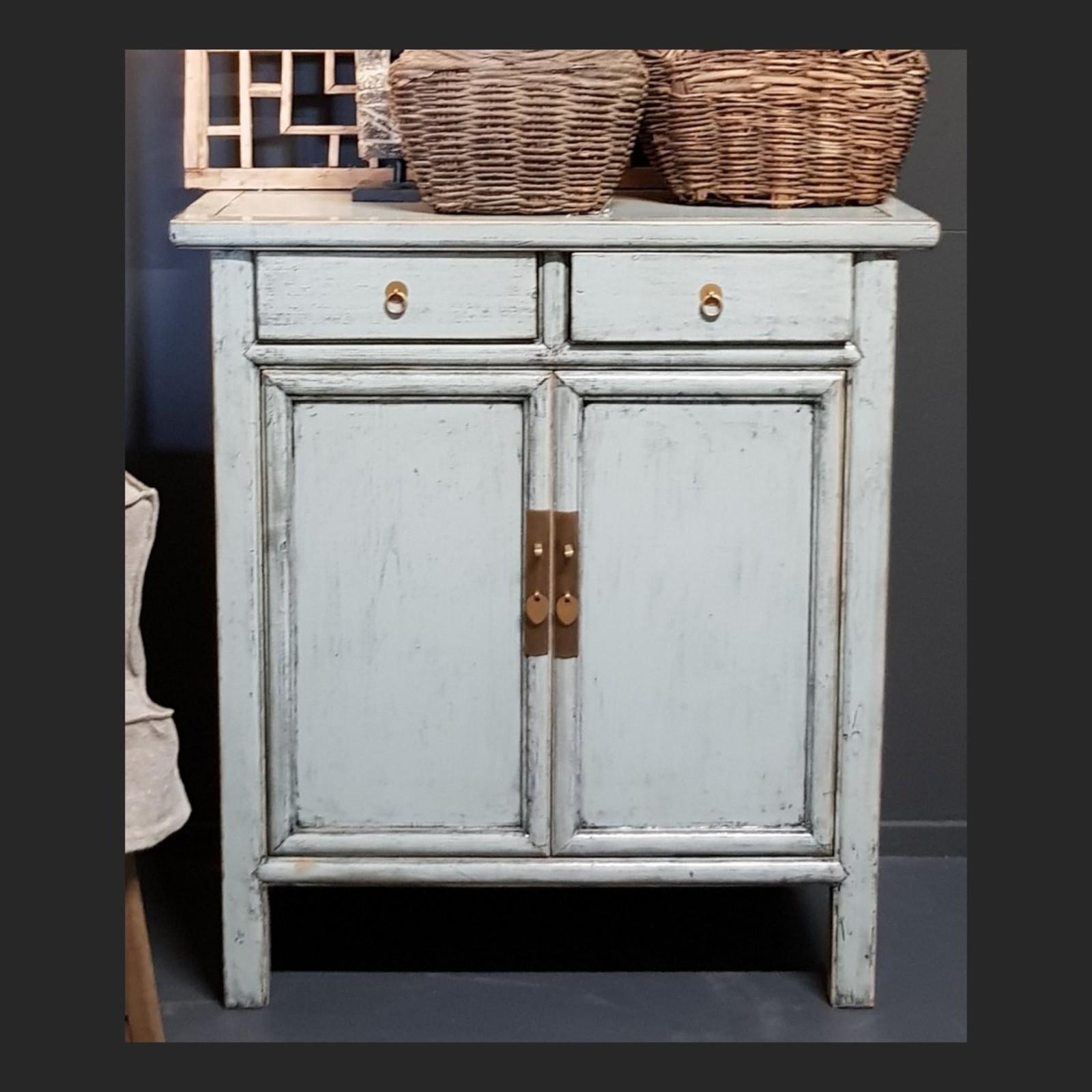 Luksa Vintage 2-deurs dressoir grijs-blauw hoogglans