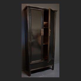 Luksa Vintaged 2-deurs linnenkast zwart hoogglans