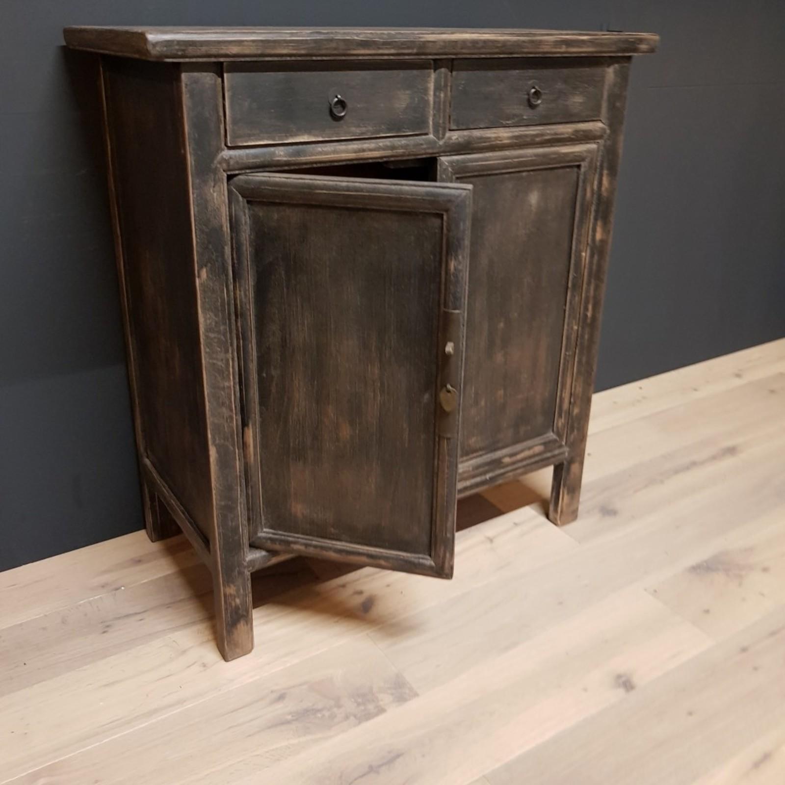 Luksa Vintage zwart 2-lade - 2-deurs dressoir