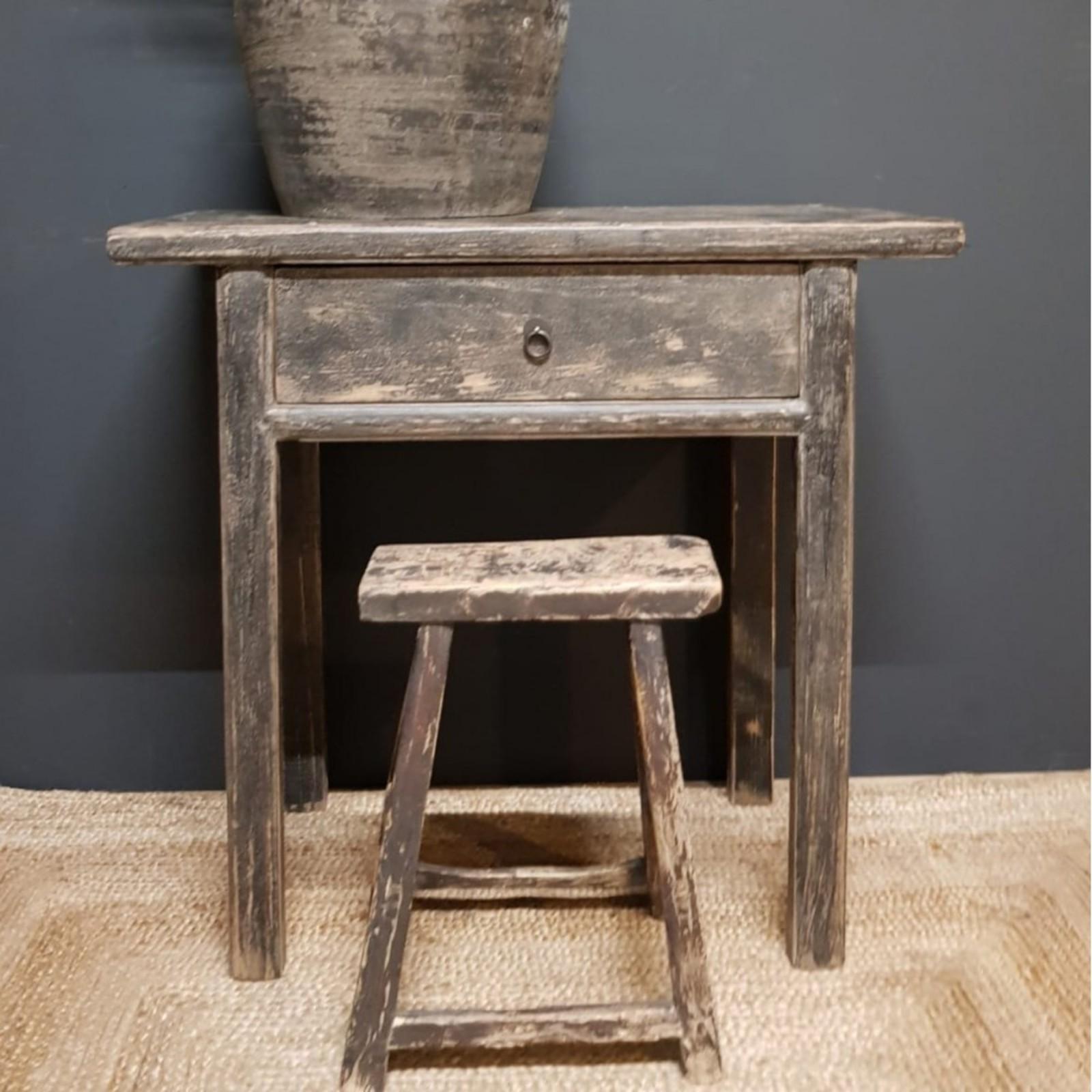 Luksa oud houten wandtafel zwart - 1 lade