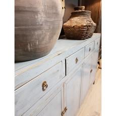 Luksa Vintage grijs-blauw hoogglans 4-deurs dressoir