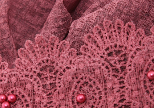 BEAUX JOURS SCARF LACE & PEARL BURGUNDY