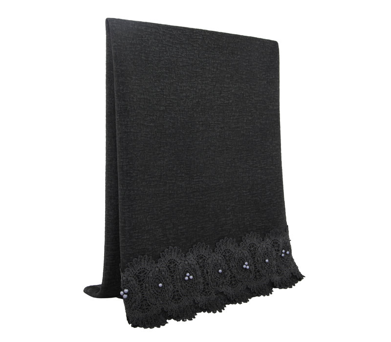 SCARF LACE & PEARL CHARCOAL