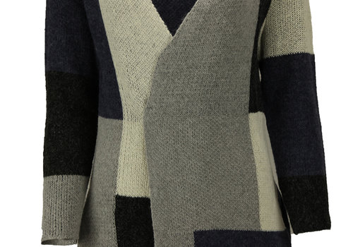 BEAUX JOURS CHECKERED CARDIGAN NAVY