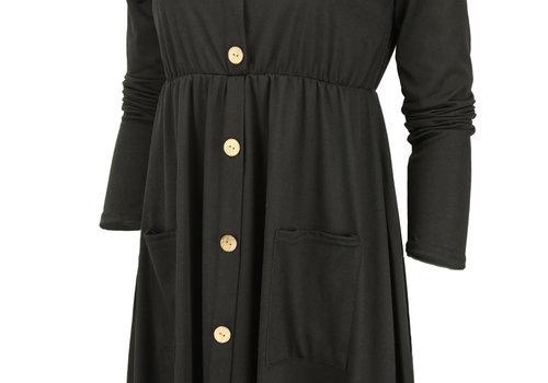 BEAUX JOURS BUTTONED MINI DRESS BLACK