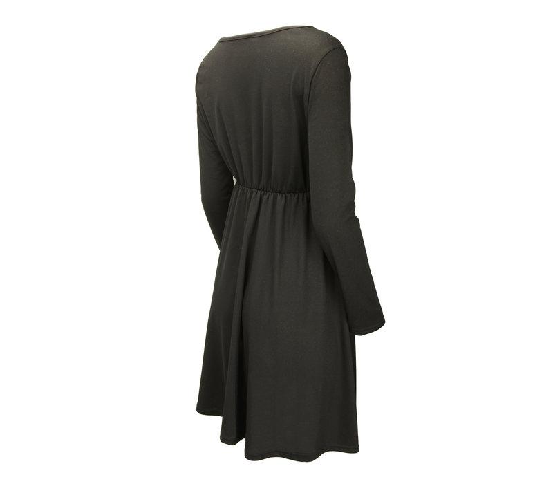 BUTTONED MINI DRESS BLACK