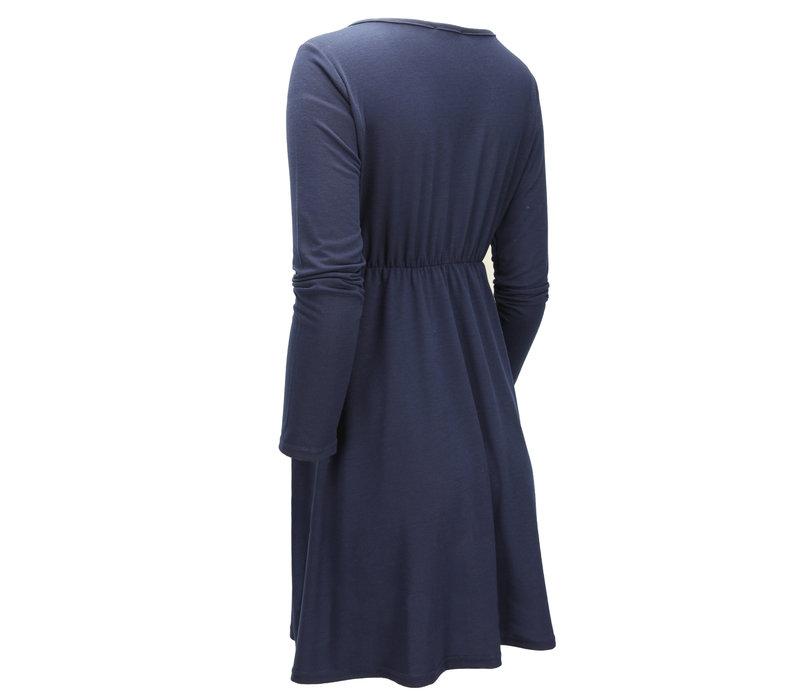 BUTTONED MINI DRESS NAVY