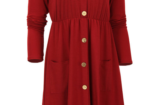 BEAUX JOURS BUTTONED MINI DRESS RED