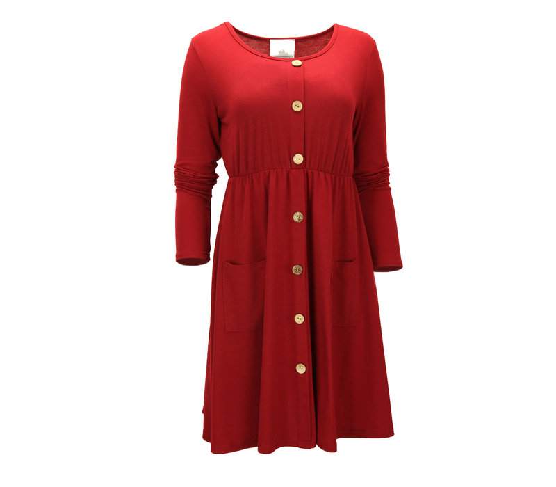 BUTTONED MINI DRESS RED