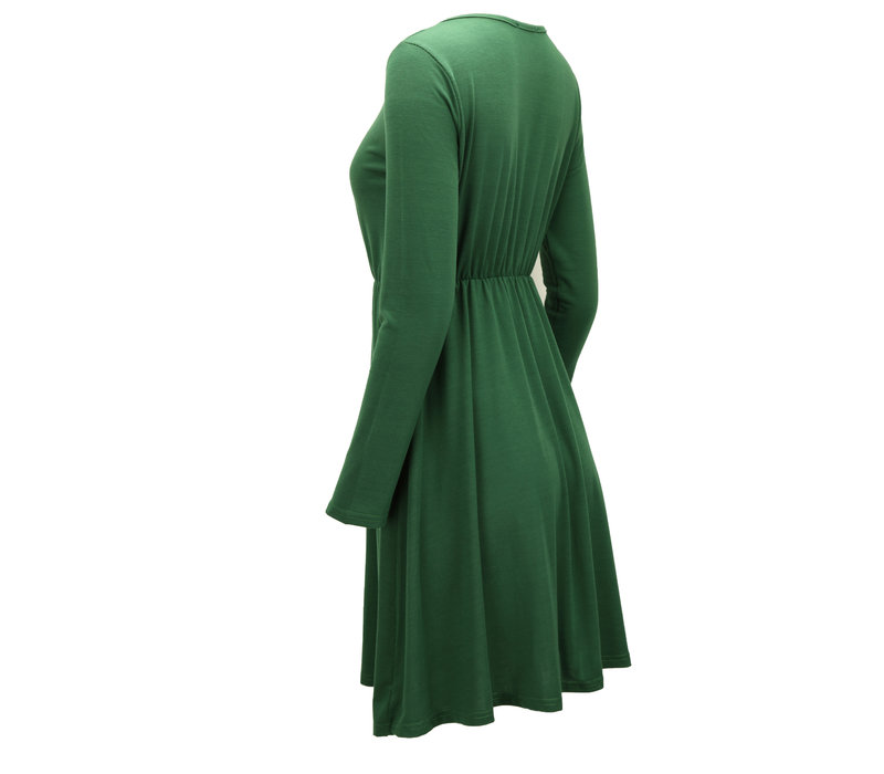 BUTTONED MINI DRESS GREEN