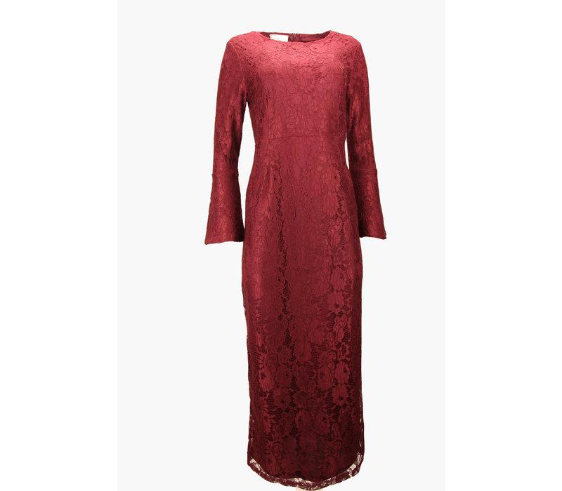AVENIDA  LACE DRESS BURGUNDY