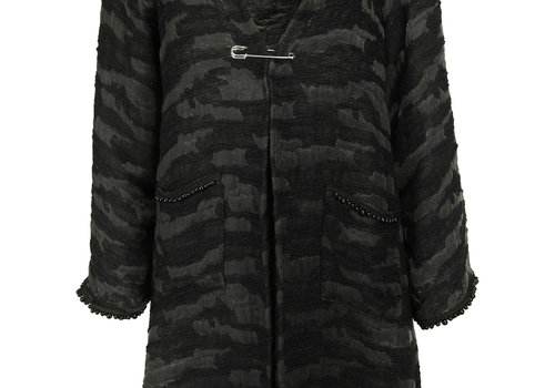 BEAUX JOURS UNLINED COAT CAMOUFLAGE PEARL BLACK