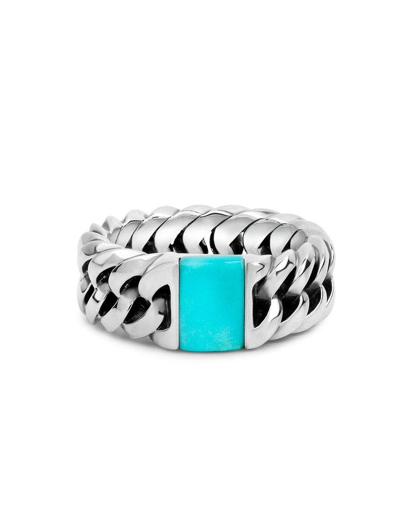 Buddha to Buddha 925 Sterling Zilveren 603TQ Ring Chain Stone Turquoise Ring 16