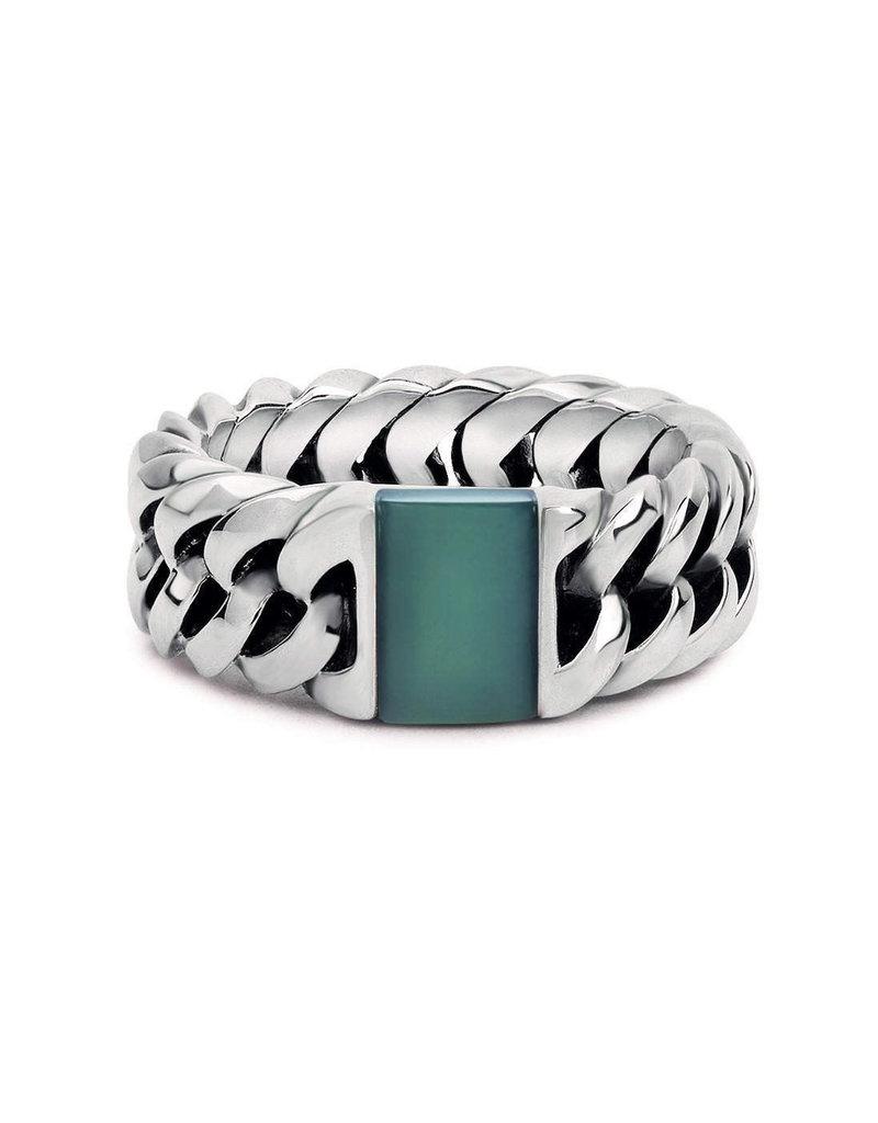 Buddha to Buddha 925 Sterling Zilveren 603 GR Chain Stone Ring Green Calcedony 17