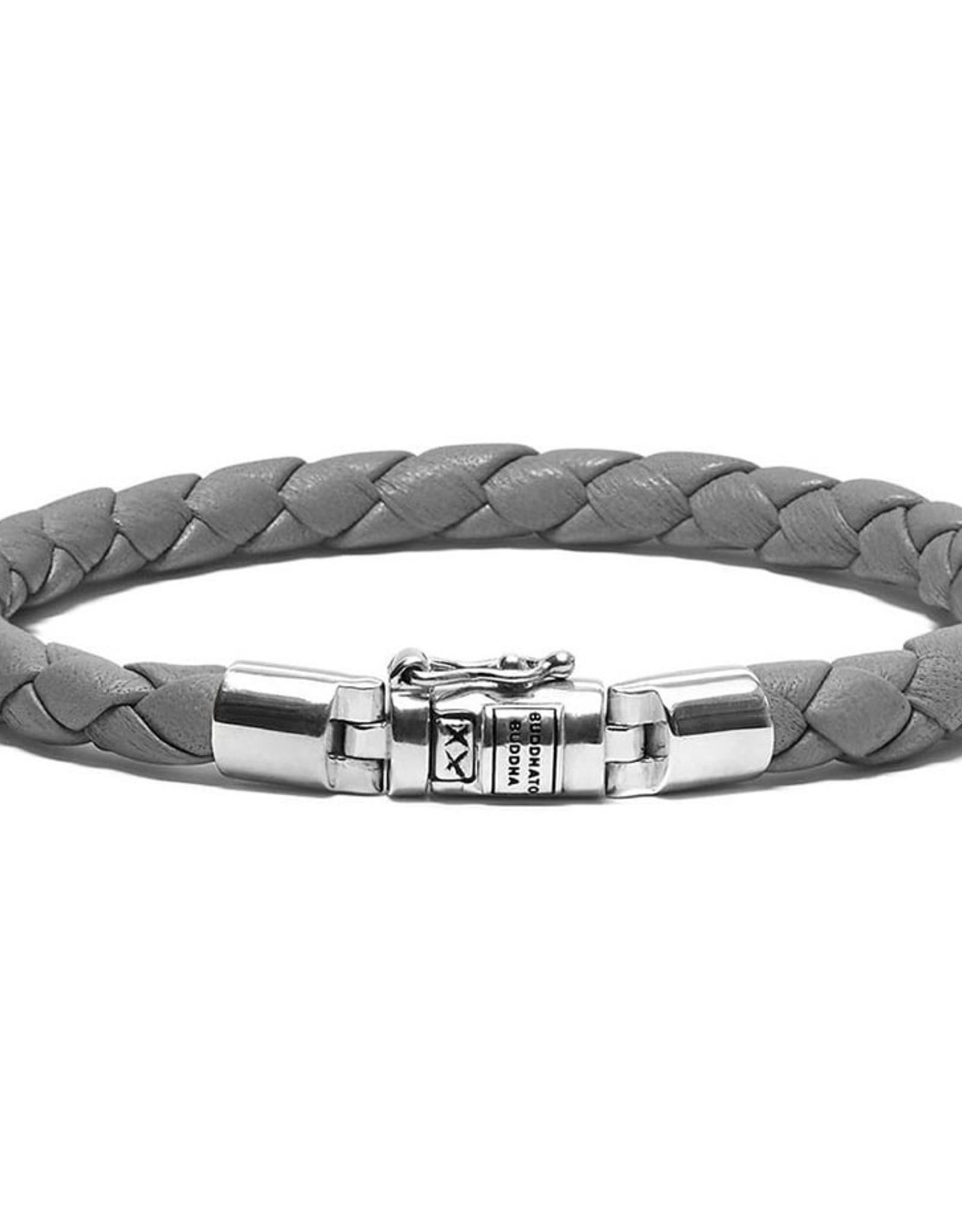 Buddha to Buddha 925 Sterling Zilveren J545GA E Ben Xs Round Leather Graphite Armband 19cm