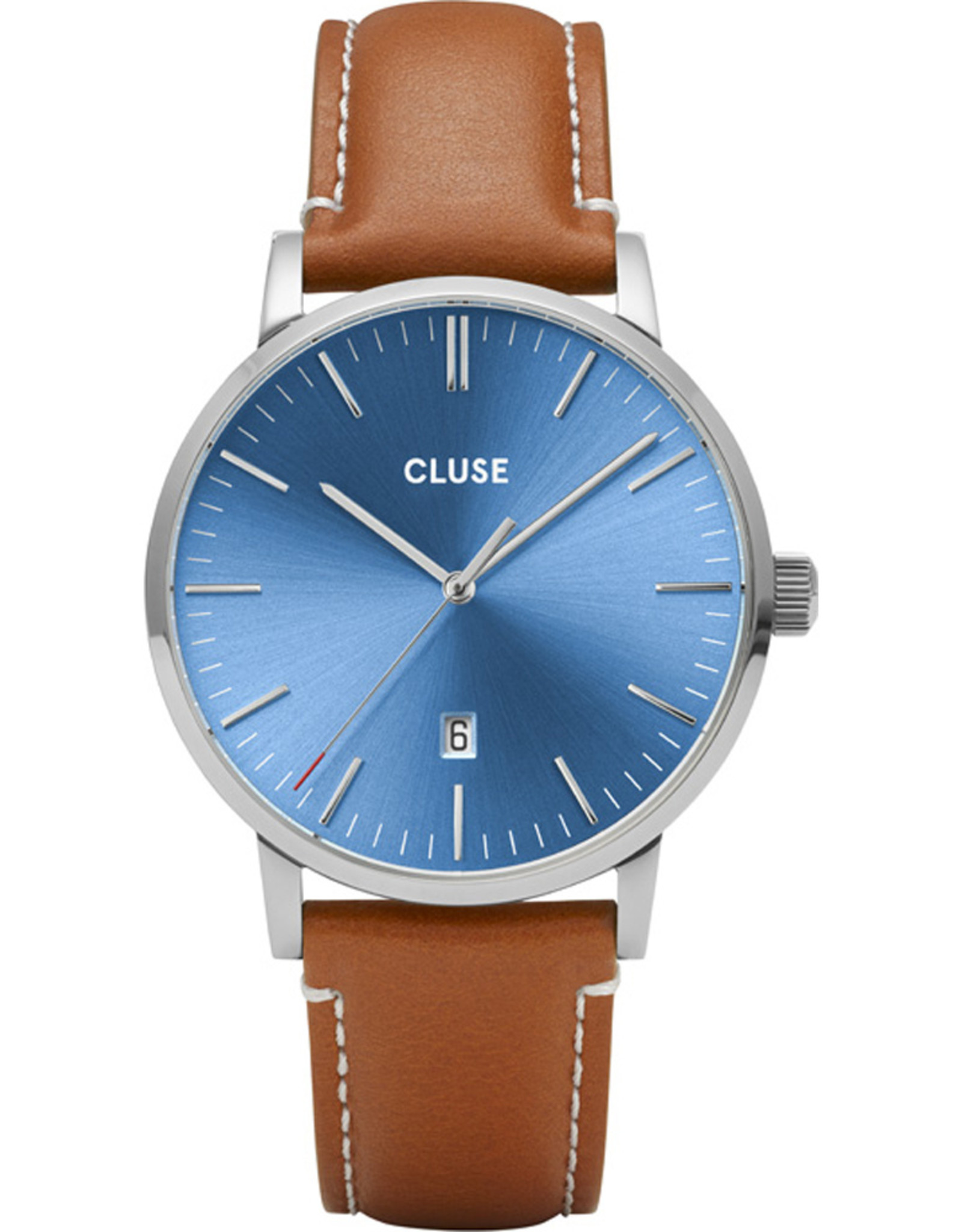 Cluse Aravis Silver Blue/Light Brown Leather