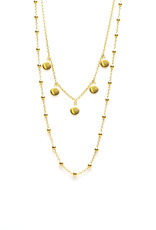 Karma Double Necklace Dots 5 Discus Goldplated