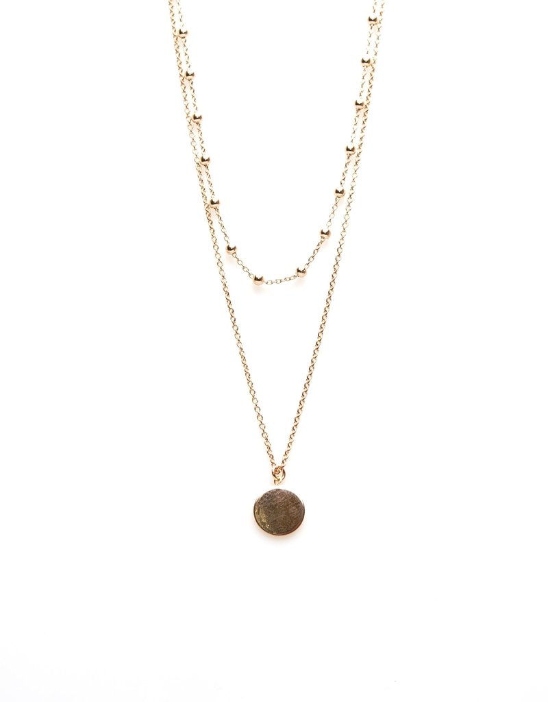 Karma Double Necklace Dots Disc Roseplated