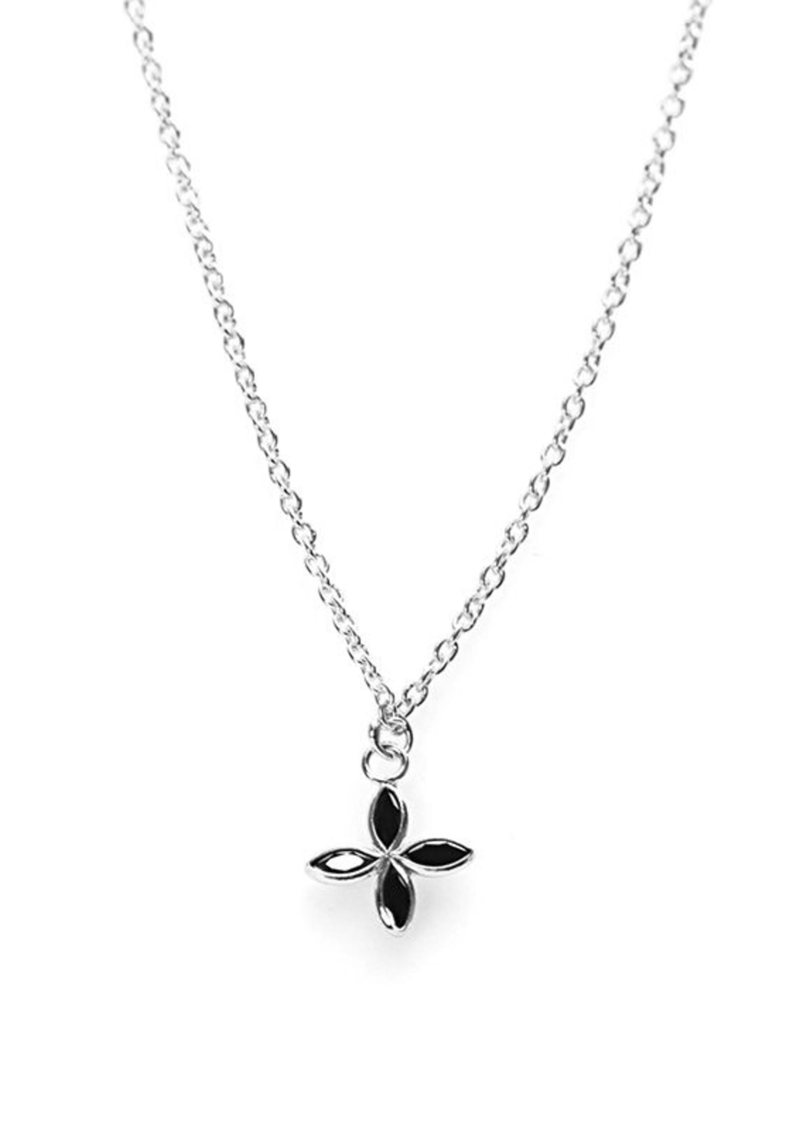 Karma Necklace Black Zirconia Flower Silver