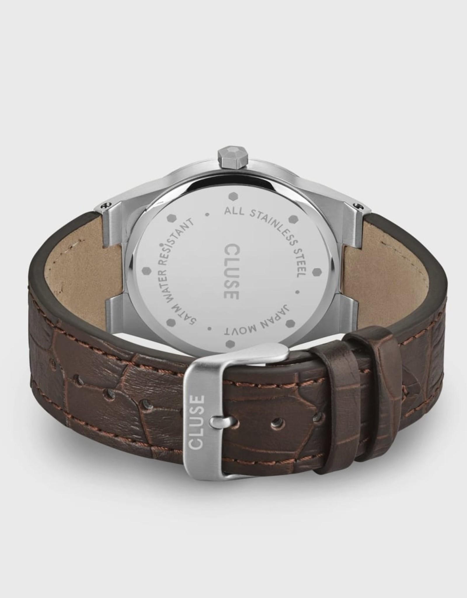 Cluse Vigoureux Leather Dark Brown, Silver Colour