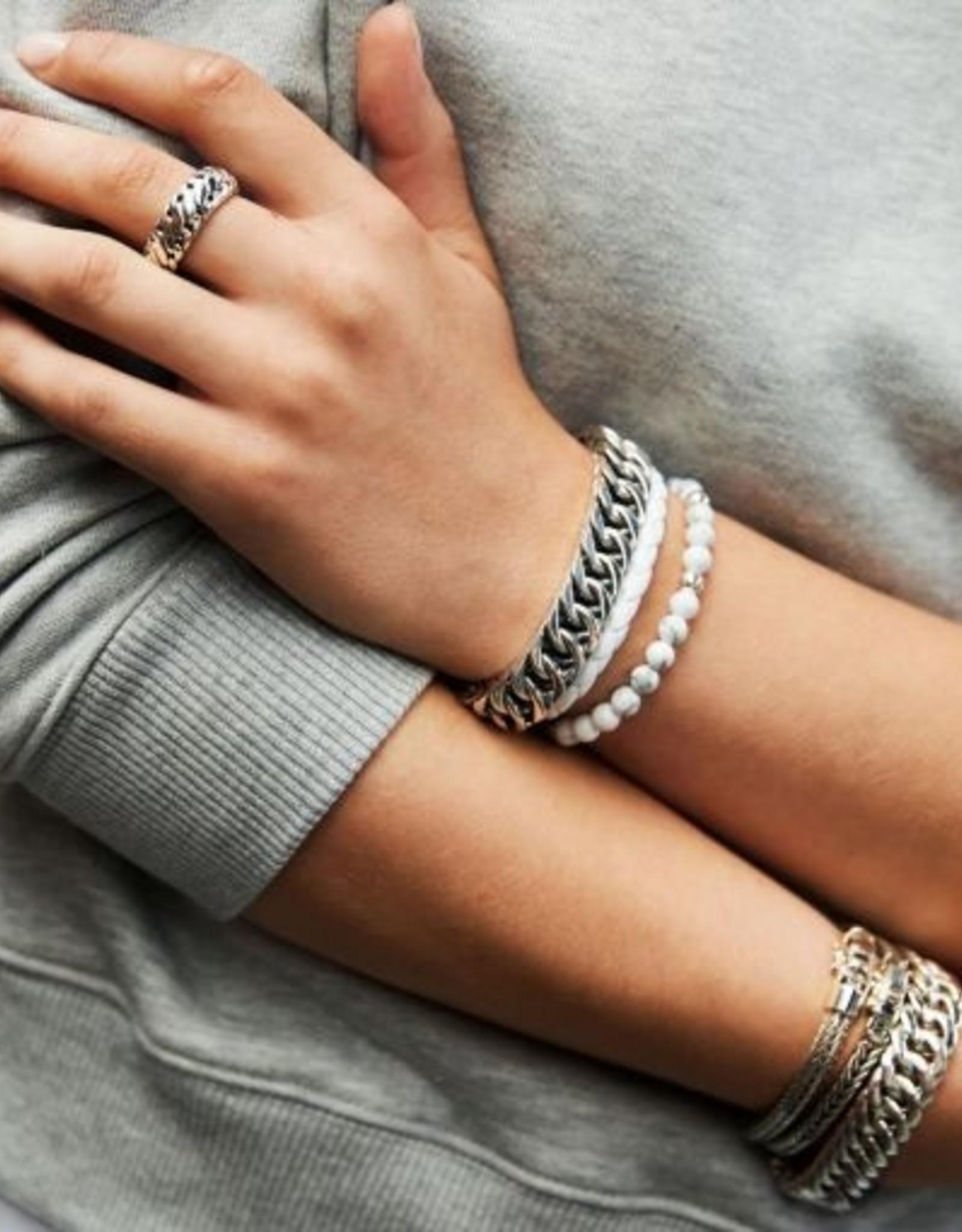 Buddha to Buddha 925 Sterling  Zilveren J545wh Ben Xs Round Leather White 18cm