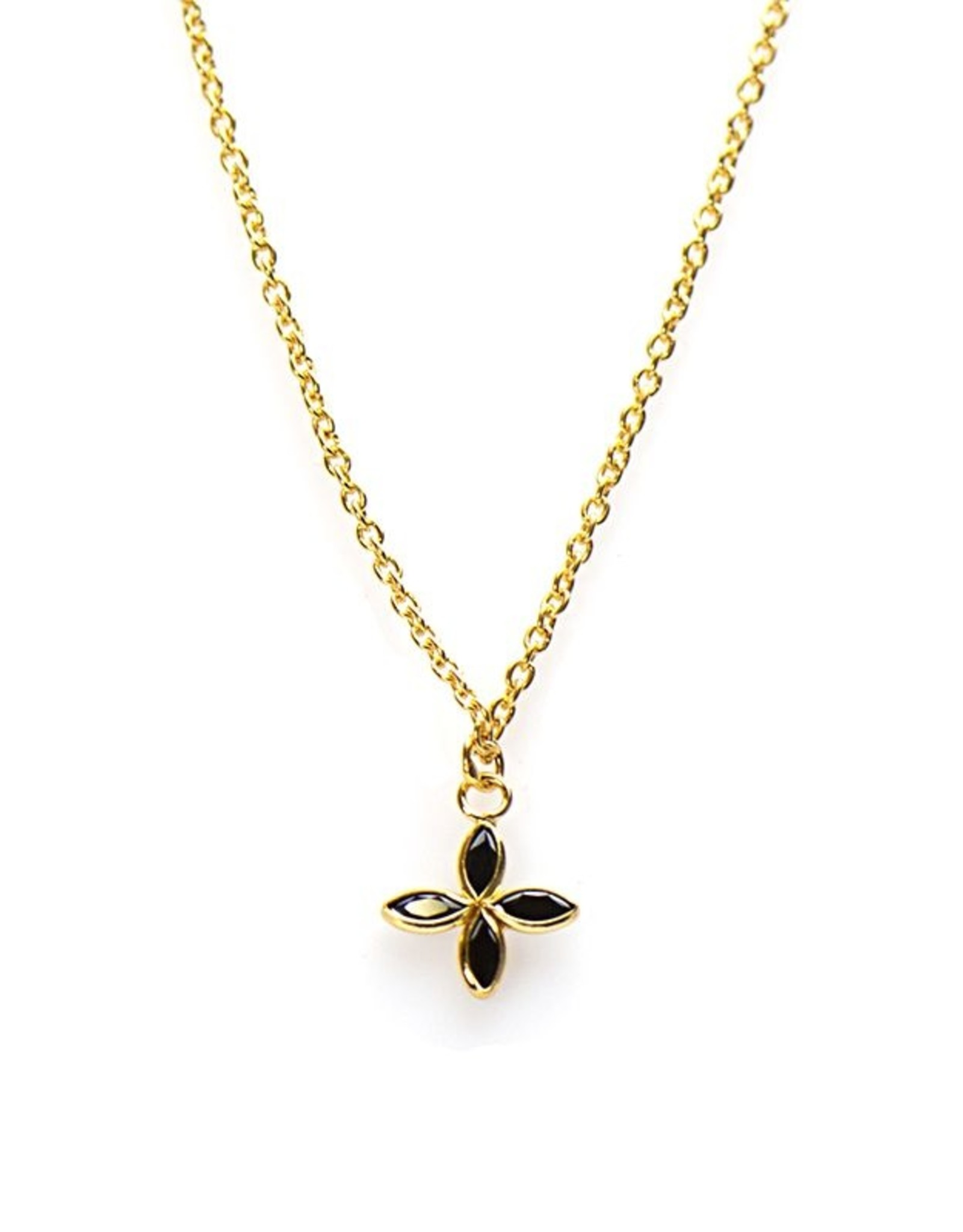 Karma Necklace Black Zirconia Flower Goldplated