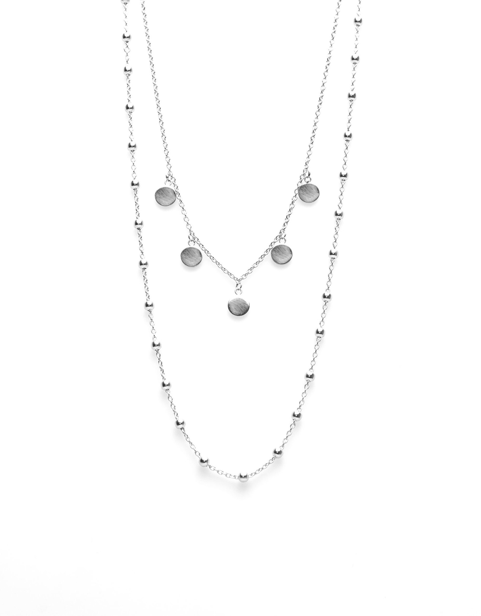 Karma Double Necklace Dots 5 Discus Silver
