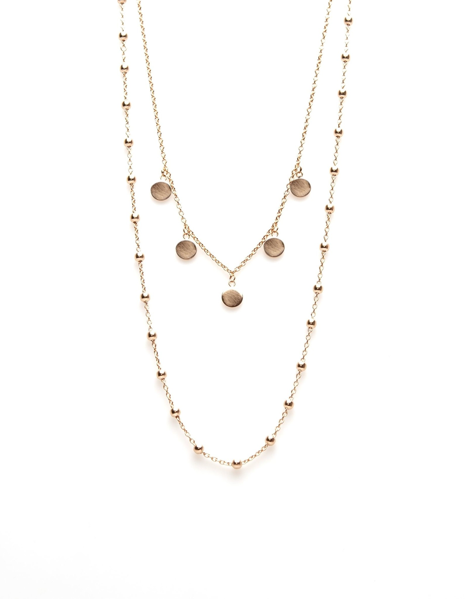 Karma Double Necklace Dots 5 Discus Roseplated