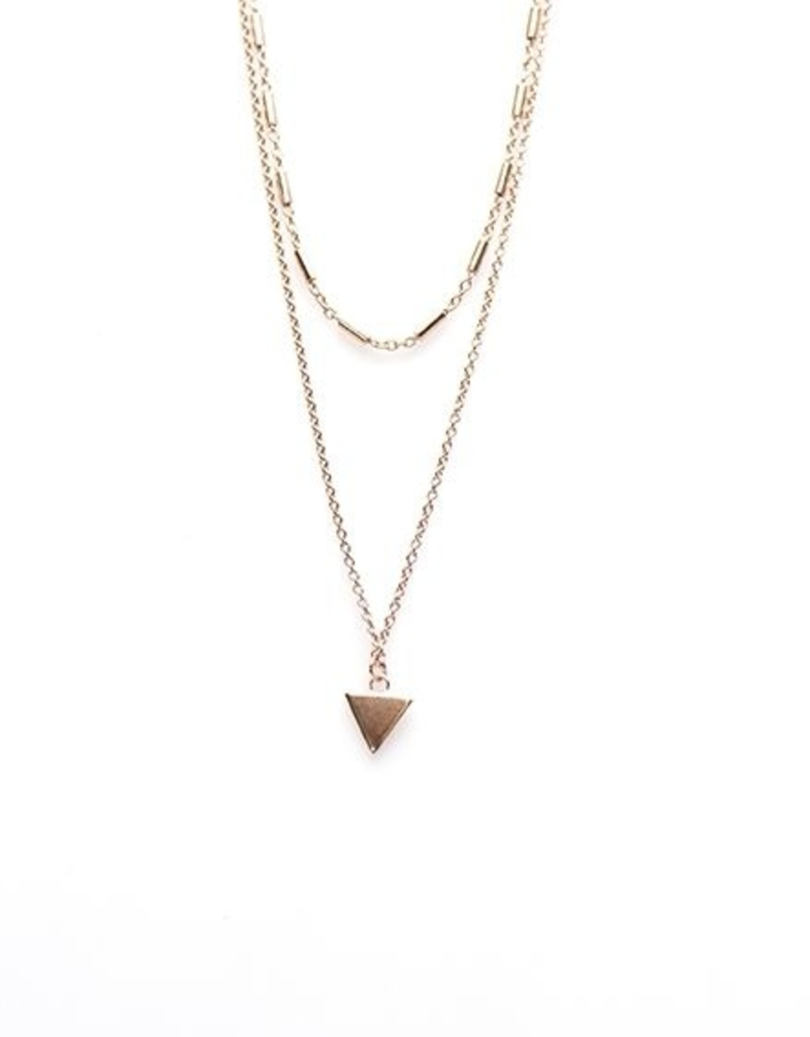 Karma Double Necklace Tubes Triangle Roseplated