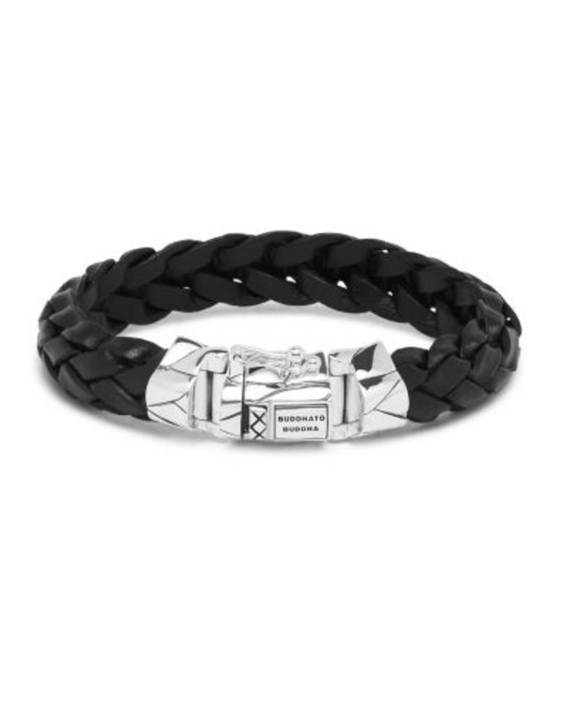 Buddha to Buddha 925 sterling zilveren 127BL F - Mangky Leather Bracelet Black