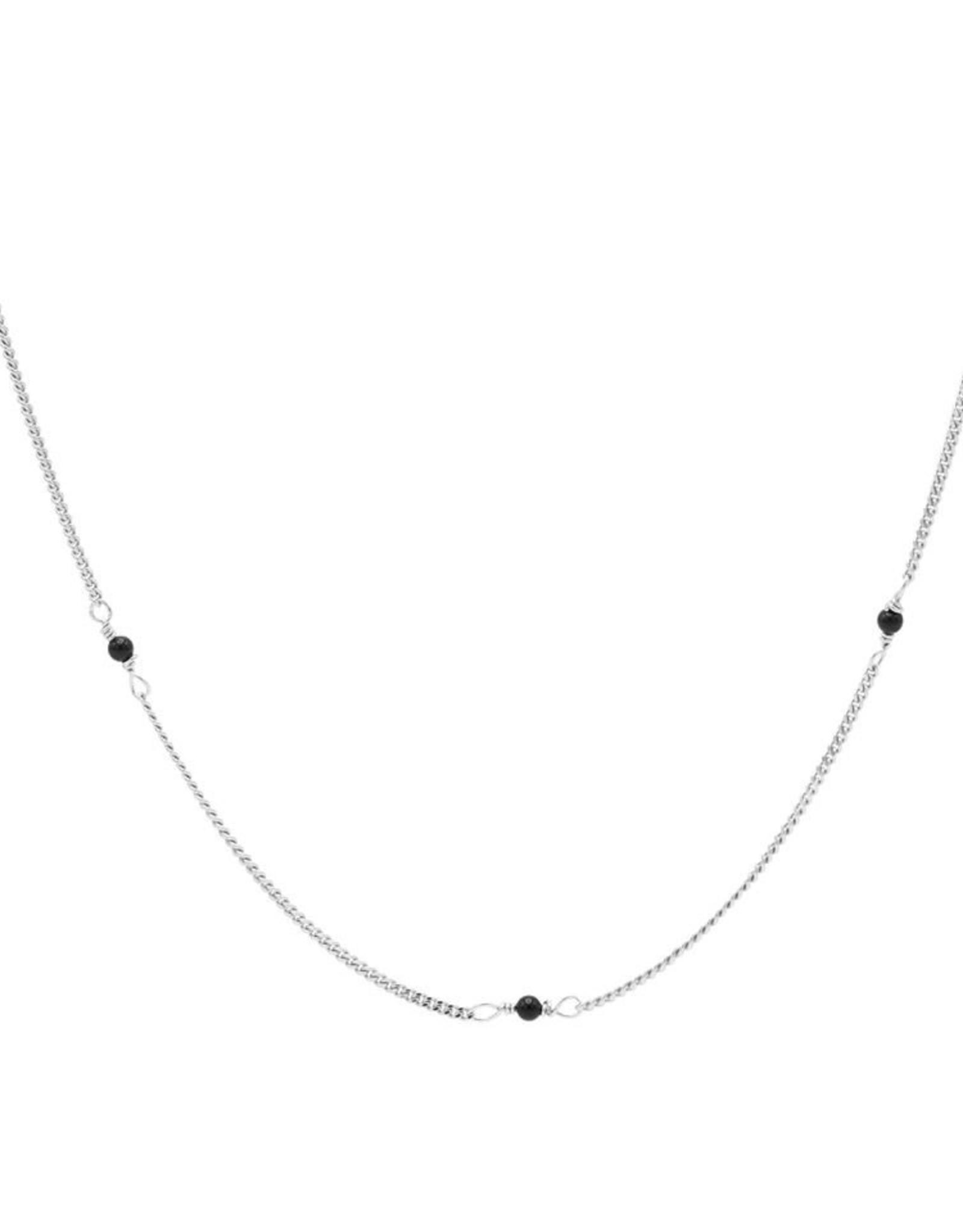 Karma Necklace Tiny Onyx Silver