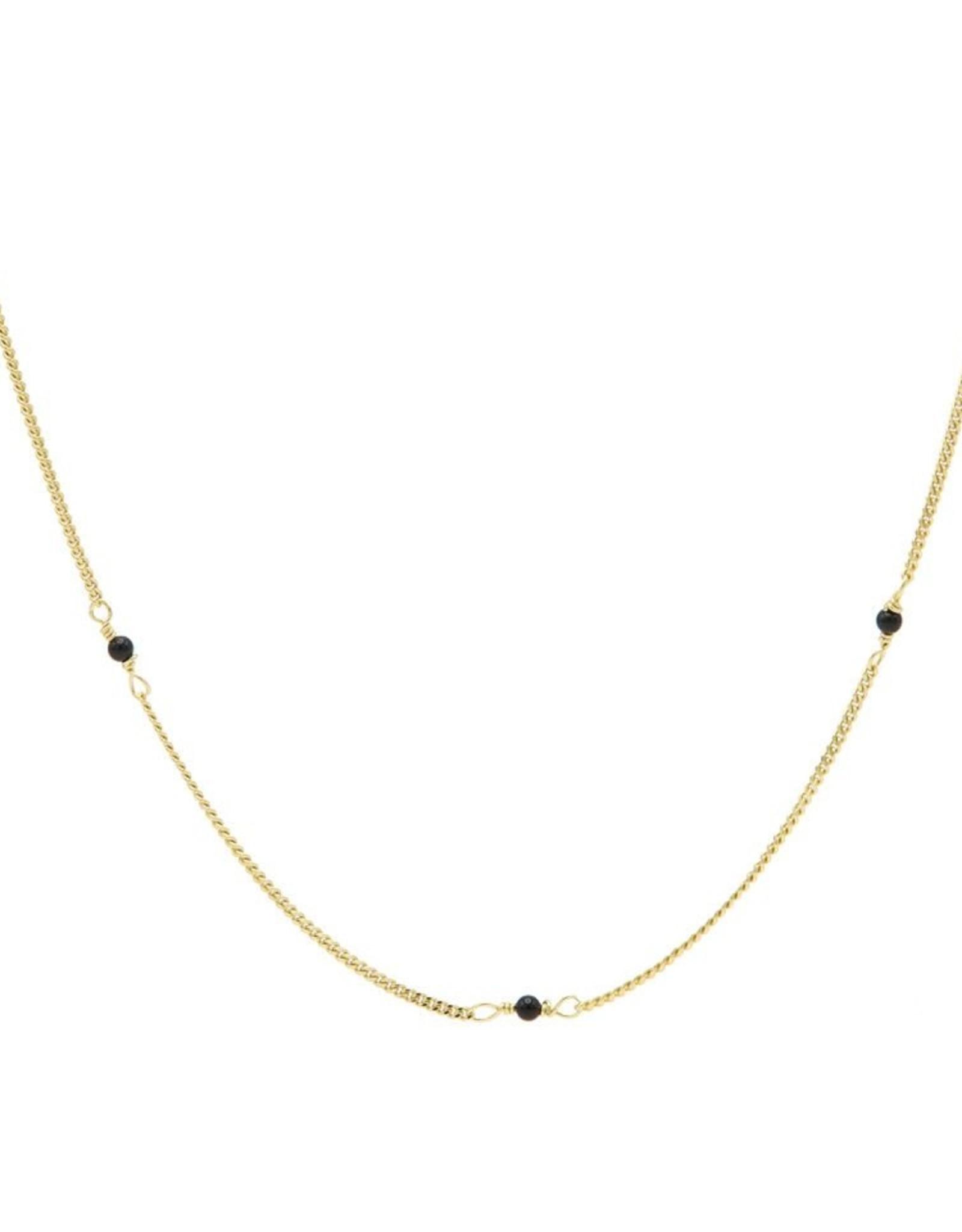 Karma Necklace Tiny Onyx Goldplated