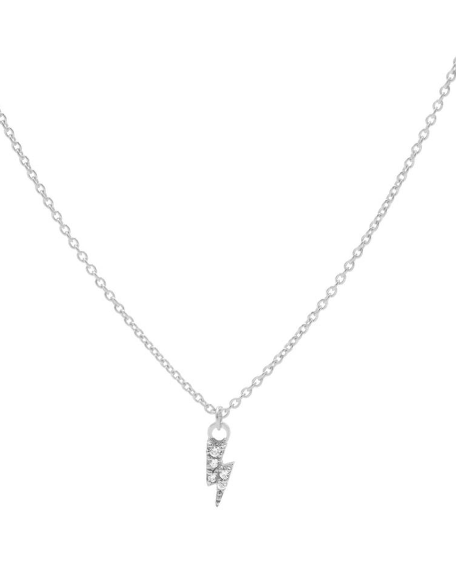 Karma Necklace Zirconia Lightning Silver