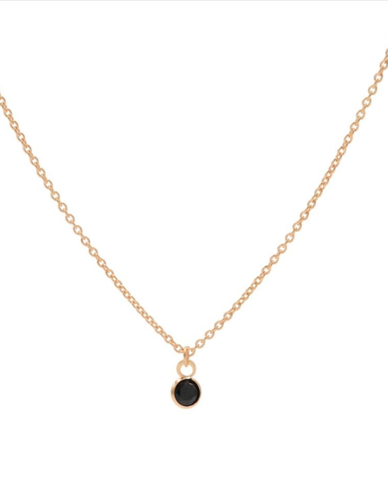 Karma Necklace Black Zirconia Dot Roseplated