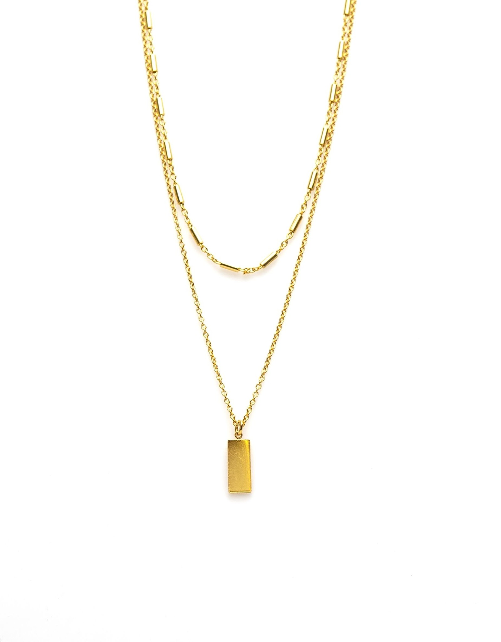 Karma Double Necklace Tubes Rectangle Goldplated
