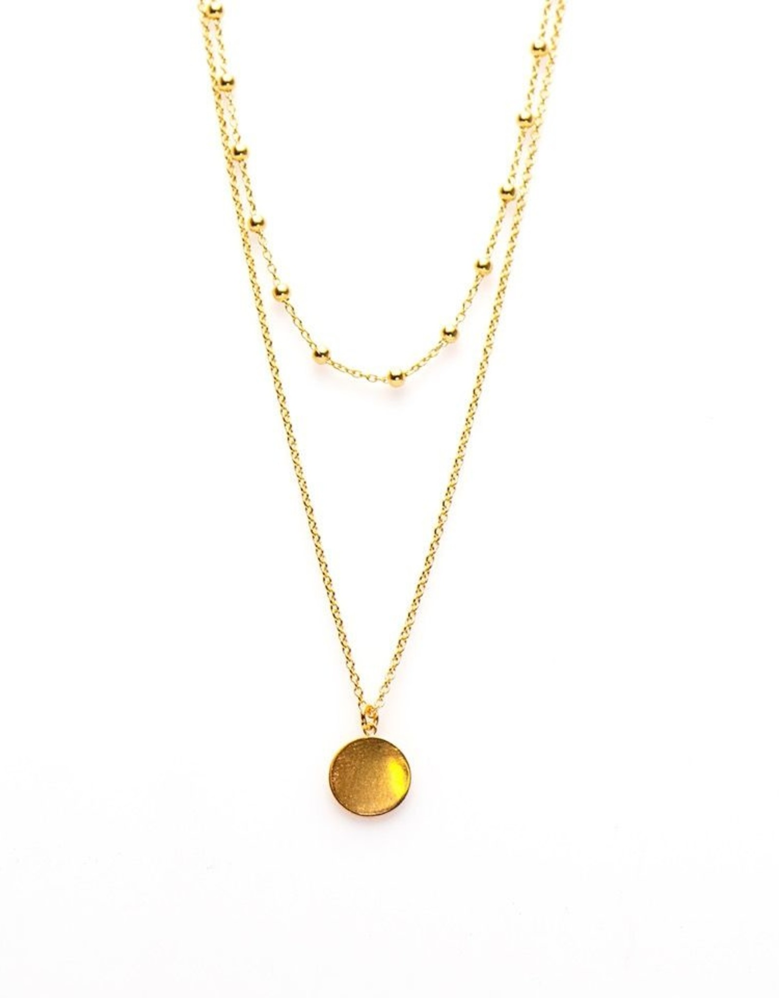 Karma Double Necklace Dots Disc Goldplated