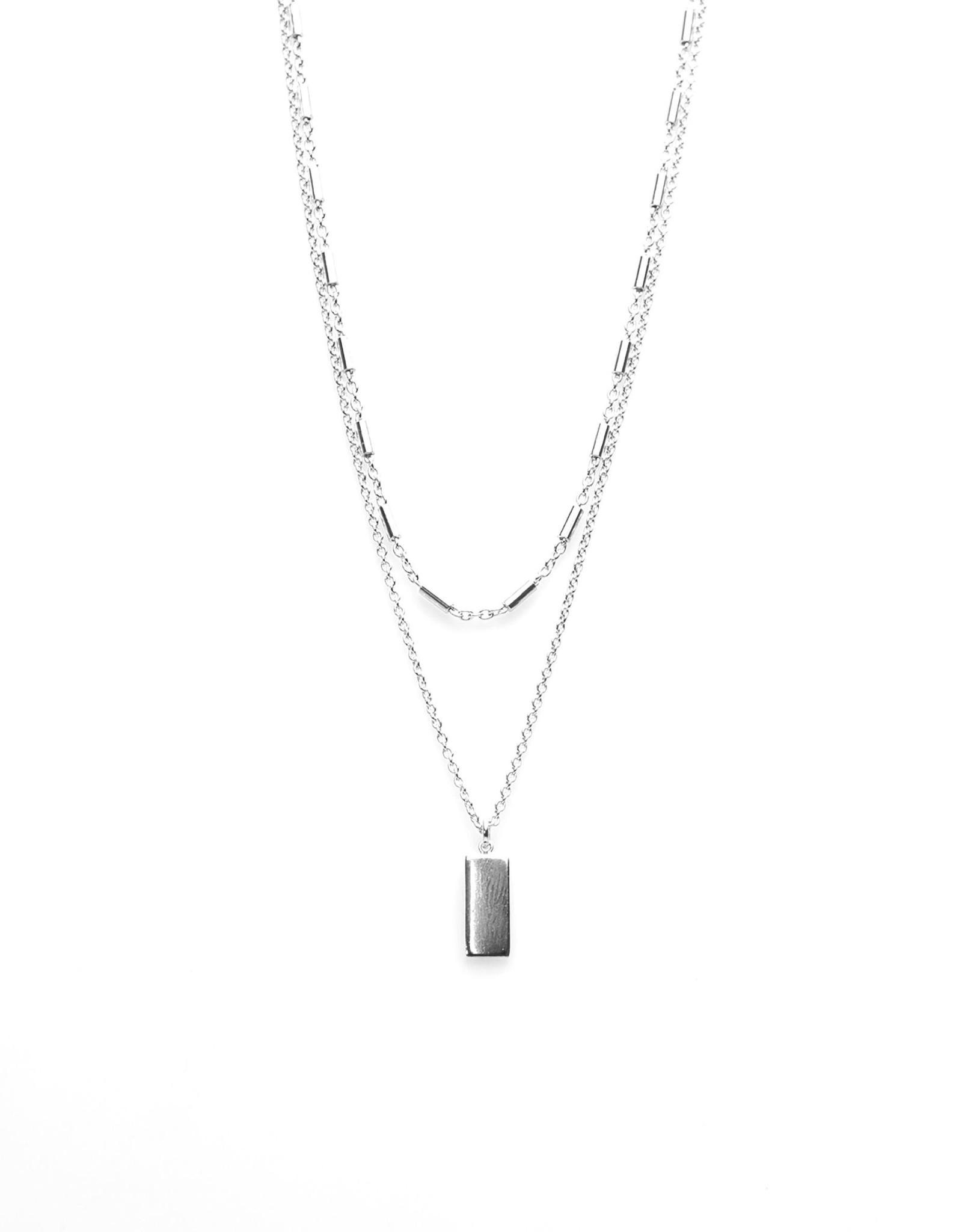 Karma Double Necklace Tubes Rectangle Silver