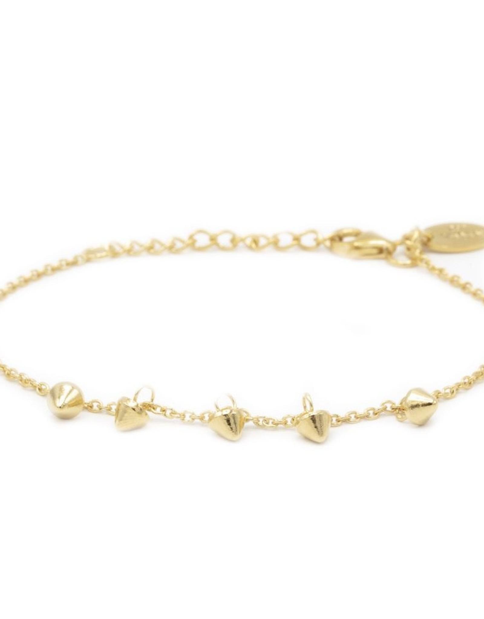 Karma Bracelet 5 Mini Cones Goldplated
