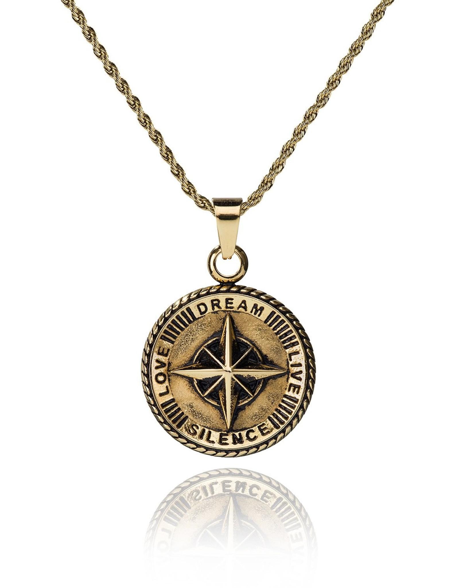 Croyez Compass w/ roundboxchain 14k gold 65cm