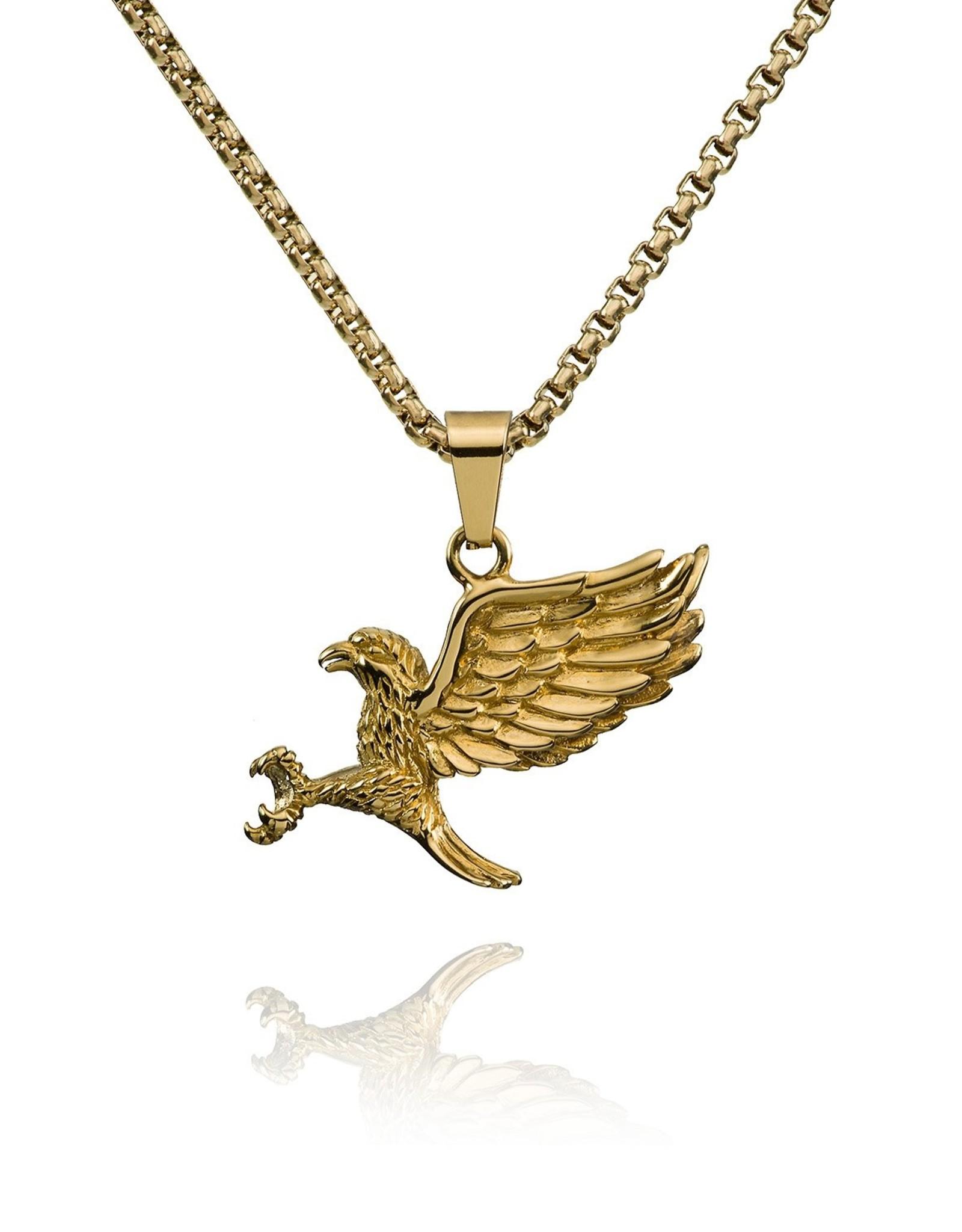Croyez Eagle w/ round boxchain 14k gold 65cm