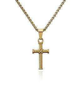 Croyez Cross w/ round boxchain 14k gold 65cm