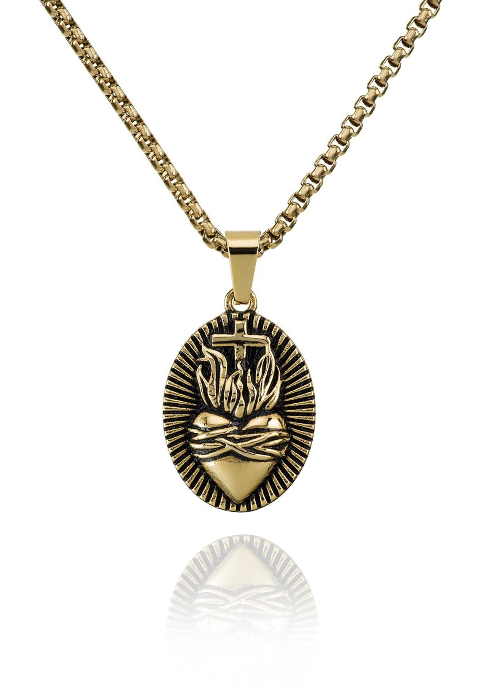 Croyez sacred heart w/ round boxchain 14k gold 65cm