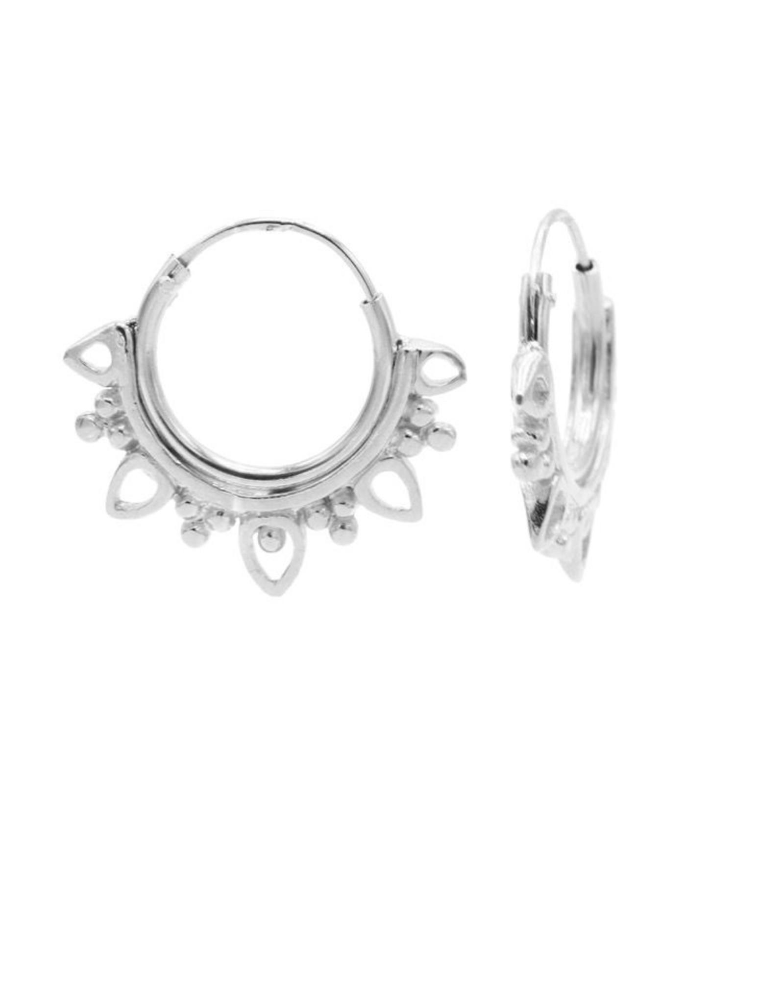 Karma Hoops Symbols Solid Dotty Flower Silver Set