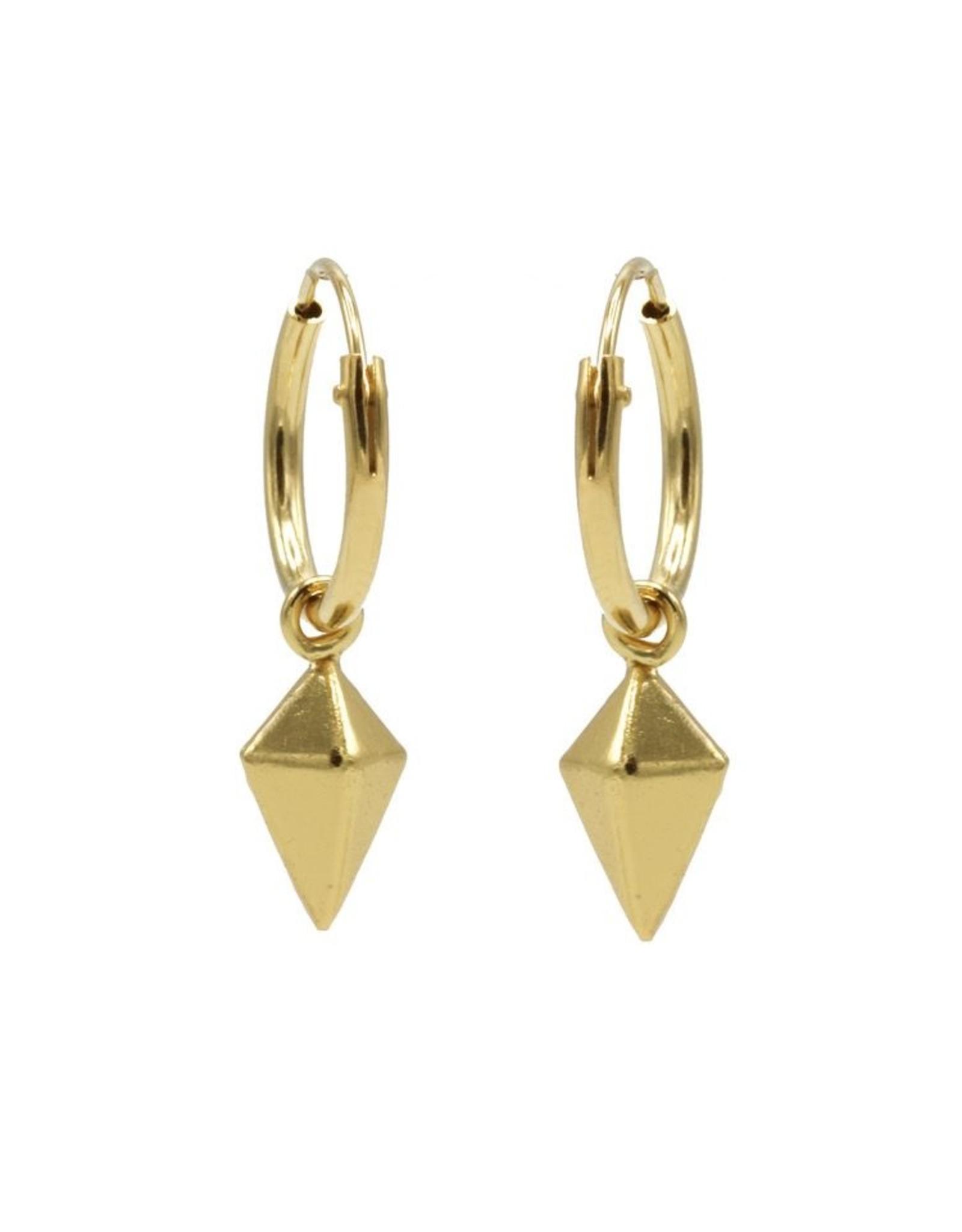 Karma Hoops Symbols Square Cone Goldplated Set